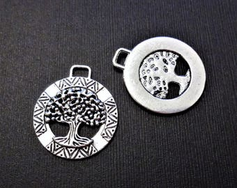 5 - FAMILY TREE CHARMS - in silver tone - measures 1-1/4 inches - jewelry making, crafts