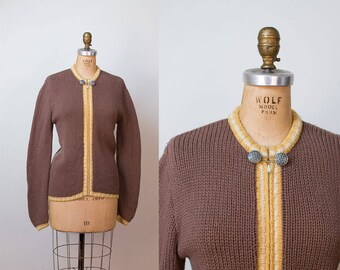 1960s Wool Cardigan / 60s Brown Garland Sweater