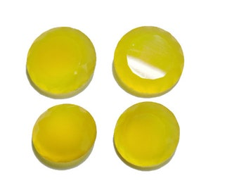 4 Pieces Beautiful Natural Yellow Chalcedony Cut Stone Round Shaped Loose Gemstone Size 20X20-15X15 MM