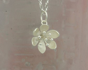 Water Lily Pendant/ Silver Flower Necklace /  Silver jewellery