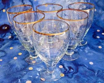 Set of Six Antique Goblets: Etched Crystal Art Deco Stemware With Gold Trim