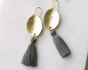 Gray Tassel Earrings, Hammered Brass with Gray Silk Tassel or Choose Your Own Color