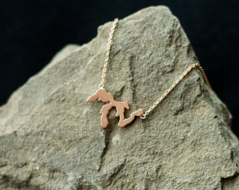 Rose Gold Great Lakes Necklace