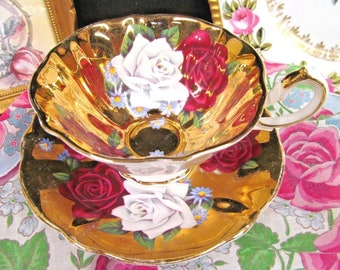 Queen Anne Tea Cup and Saucer Gold Base Roses Teacup As Found Gold Loss