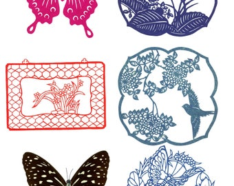 Five Laser-cut Paper Designs and one pressed butterfly wings with paper body