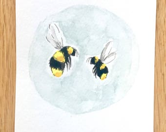 Watercolour bees, original hand painted (small) painting- 18 x 12cm