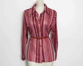 CLEARANCE 1970s Shirt / Dusty Rose & Burgundy Striped / Geometric Print Button-down / Women's Vintage 70s Russ Disco Top