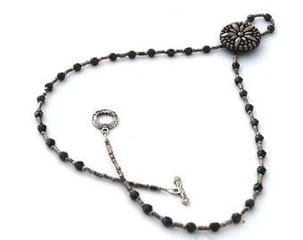 Beaded Necklace,  Black and Gunmetal Silver Beads, Princess Length