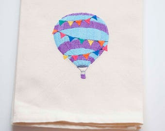 Hot Air Balloon Tea Towel | Personalized Kitchen | Embroidered Kitchen Towel | Embroidered Towel | Embroidered Tea Towel | Balloon Towel
