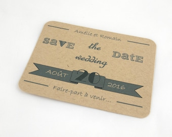 Reserved for FairePartEtTralala only - set of 6 wedding Save The Date - Kraft vintage - French or English