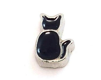 Black Cat Floating Locket Charm Living Memory Lockets Jewelry Making Supplies - 61e