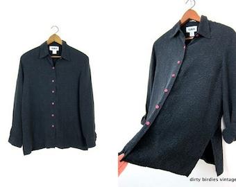 90s Black Textured Silk Blouse Modern Vintage Floral Silk Shirt Long Sleeve Minimal Blouse Womens Large