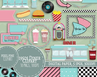 Fifties Diner Clipart Set, 30 PNGs, 5 1950s Diner Digital Paper JPGs, Commercial Use, Retro pink and blue Fifties clipart, 50s clip art set