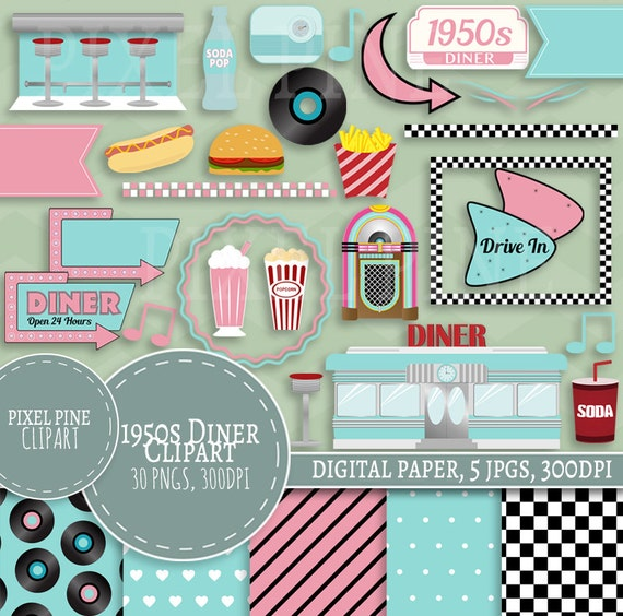 fifties diner clipart set 30 pngs 5 1950s diner digital rh etsy com family dinner clipart american diner clipart