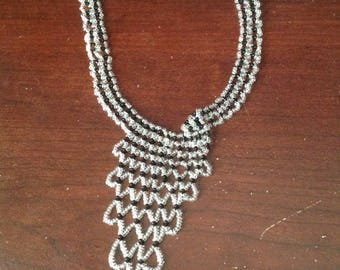 Black and white upside down pyramid necklace