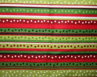SALE Red Green Stripes Apparel Quilting Designers Cotton fabric by the yard.
