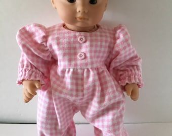 Doll Onesie - Pink Checked Flannel Onesie  fits 15 and 18 inch Dolls