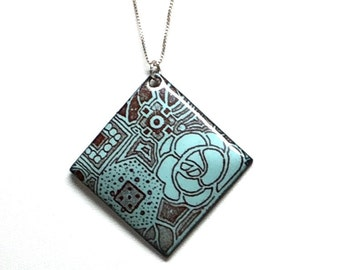 """Robins Egg Blue Deco Floral Enamel Pendant on 16"""" Sterling Silver Chain"""