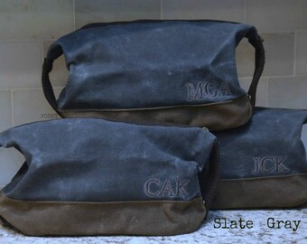 Personalized Dopp Kit : Toiletry Bag Travel  Waxed Canvas  FREE SHIPPING