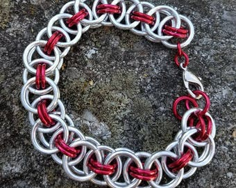 Silver and Red Helm Weave Chainmaille Bracelet