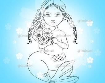 Mermaid Girl - Line Art Digital Stamp Image Adult Coloring Page Printable Instant Download