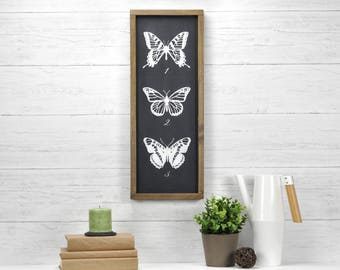 Farmhouse Wall Decor, Butterfly Decor For Baby, Vertical Rustic Sign, Farmhouse Gallery Wall
