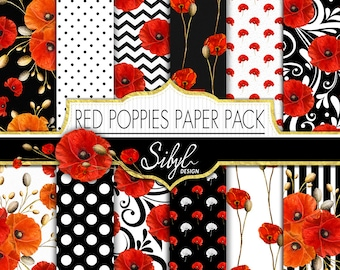 60% OFF SALE, Red Poppies Digital Paper Pack, Poppy Floral Digital Paper, Red Flower Collage Sheet, Poppy Digital Scrapbooking, Decoupage