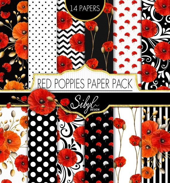 60 off sale red poppies digital paper pack poppy floral mightylinksfo