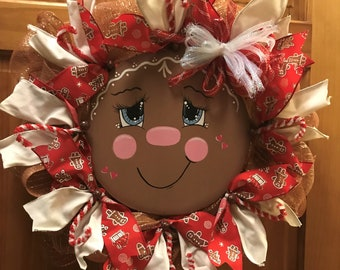 Cute Gingerbread Wreath, Red Christmas Wreath, Gingerbread Decor, Front Door Wreath, Gingerbread Decor, Gingerbread Man, Deco Mesh Wreath