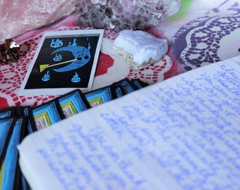 tarot card reading, straight from my brain, to the page, to your doorstep. a handwritten tarot reading, mailed to you like a letter.