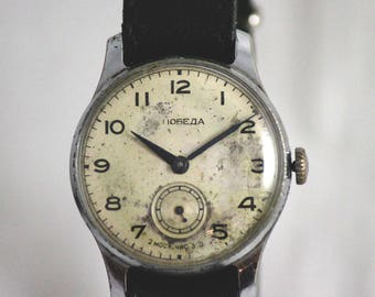 POBEDA Vintage Military SERViCED AUTENTiC watch 2-nd Moscow watch Factory 15 Jewels from 1956 made in USSR