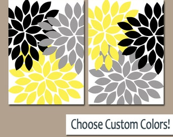 Flower Wall  Art, Gray Yellow Black Bedroom Canvas or Prints, Yellow Black Bathroom Decor, Yellow Black Flower Art, Set of 2 Artwork