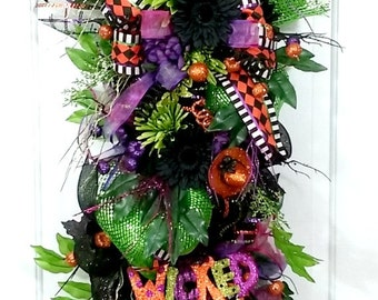 Halloween door wreaths, Halloween wreaths, Halloween swags, Halloween mesh wreaths, Halloween door wreath, Halloween wreath, Halloween swag