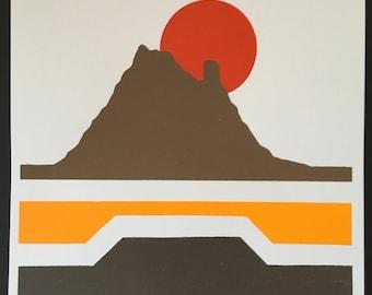 Desert Print, Orange Sun, Desert Screenprint, Sonoran Desert, Desert Art