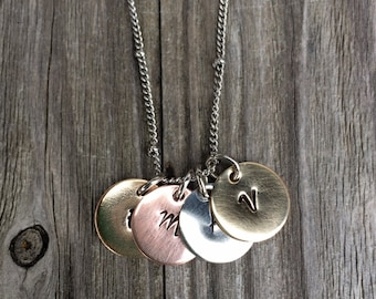 Family Initial Mixed Metal Disc Necklace