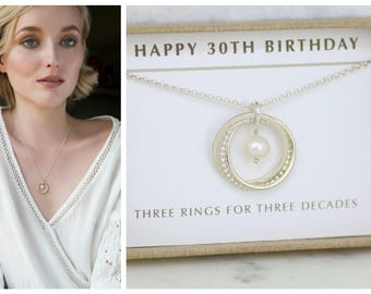 30th birthday gift for her, June birthstone necklace, pearl necklace, 30th gift - Lilia