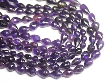 "Purple Amethyst Faceted Briolette Tear Drop Loose Gemstone Beads 10"" 15mm 10mm - Jewelry Making"
