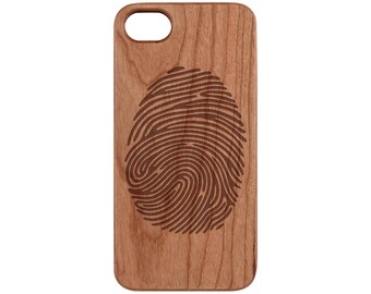 Finger Print Cherry iPhone X / 8 / 8+ Samsung Note 8 / S8 Real Natural Wood Phone Case - FREE Shipping