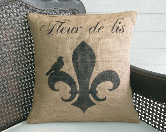 Fleur de lis with Bird - Burlap Pillow - Fleur de Lis Pillow - French County Decorative Pillow
