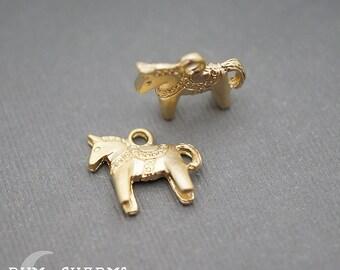 0190 - Pendant Connector, Matte Gold Plated, Mini Horse Charm Pendant, 2 Pieces