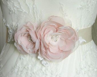 Blush wedding sash Wedding sash Ivory wedding sash Blush wedding flower Champagne wedding sash Blush ivory wedding Blush wedding dress
