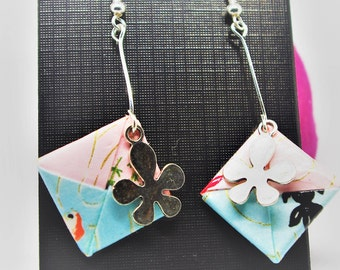 Square origami leaf earrings