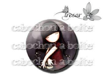 PA139 cabochons glass manual Retro girl, bird, children, rocking horse