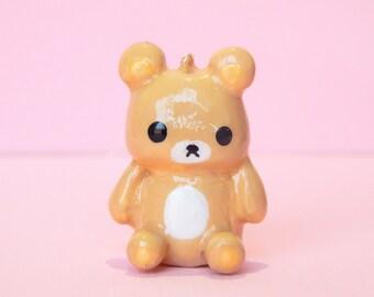 bear charm - animal charm - polymer clay charm - rilakkuma charm - rilakkuma bear - cute clay charm - dustplug - bear keychain -