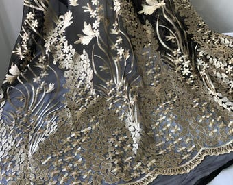 Gold Fabric - Black Mesh Lace - Scalloped Edge Lace - Gold embroidery lace fabric