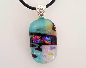 Blue and pink dichroic glass pendant