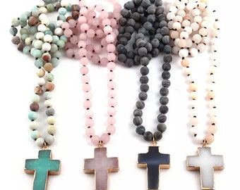 Cross with beads (4 colours to choose from)