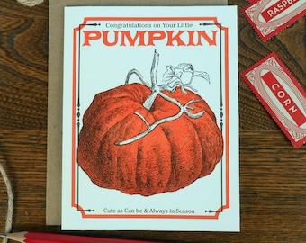 letterpress congratulations on your little pumpkin greeting card farmers market vegan vegetarian vintage pumpkin seed packet baby cute