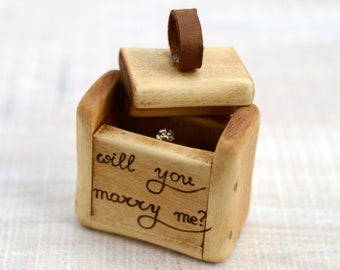 Proposal box, Wood ring box, Wooden proposal box, Ring box, Wooden box, Engagement box, Betrothal box, Will you marry me box,Engagement gift