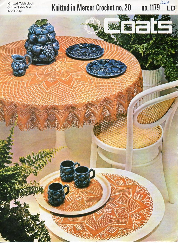 vintage tablecloth knitting pattern pdf download coffee table mat ...
